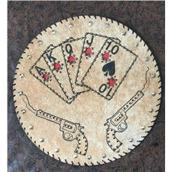 CUSTOM LEATHER ROPE CAN LID, PISTOL CARDS DESIGN,THICK STURDY LEATHER, WOULD MAKE A GREAT WESTERN CL