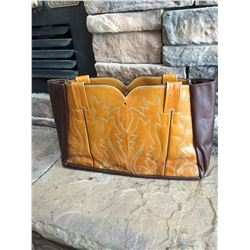 BROWN LEATHER COWBOY BOOT PURSE, LEATHER, ONE OF A KIND, FINISH WITH ADDING OWN TOUCHES TO IT!!!