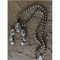 CROSS NECKLACE / SILVER BEADED CHUNKY