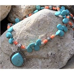 CHUNKY TURQUOISE AND PACH CORAL NECKLACE WITH TEARDROP PENDANT