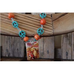 CHUNK TURQUOISE AND ORANGE PEACE NECKLAE WITH VINTAGE DOMINO