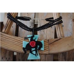 """SISSY & ME BLACK BEADED NECLACE WITH CROSS PENDAT/BRONC RED ROSE /8""""-11"""" TO END OF PENDANT"""