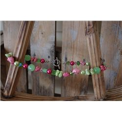 """STONE LIME AND PINK NECKLACE/Necklace with pink and green stones and beads/8"""""""