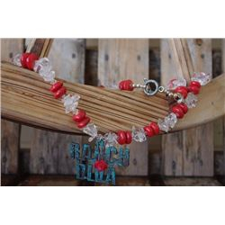 CHUNKY RED STONE WITH CLEAR CHUNKY CRYSTAL ANTIQUE TURQUOISE METAL /Chunky necklace with red and cle