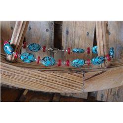 """BLUE AND RED STONE CHUNKY NECKLACE/Chunky necklace with red and turquoise stones and clear beads/9"""""""