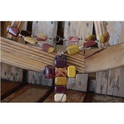 MULTI NATURAL COLORED STONES WITH LEATHER/CROSS PENDANT***ONE STONE IS CHIPPED!!!
