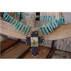 CHUNKY TURQUOISE STONE WITH BROWN CROSS NECKLACE***CROSS IS DETACHED AND DAMAGED! YOU CAN WEAR AS OR