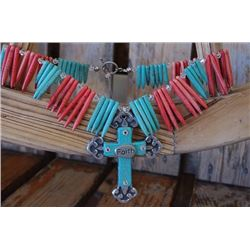 CHUNKY TURQUOISE AND CORAL STONE NECLACE WITH CROSS*****CROSS IS DETACHED BUT CAN PUT BACK ON OR CHA