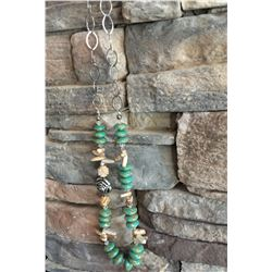 GREEN AND TAN STONE LONG CHUNKY NECKLACE