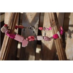 Chunky necklace with stones/Chunky necklace with hot pink stones and a green cross Smaller pink cros