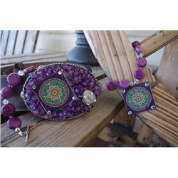 ONE OF A KIND PURPLE STONE NECKLACE AND BUCKLE SET