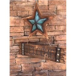 WESTERN WOOD WELCOME SIGN/TURQUOISE WESTERN STAR