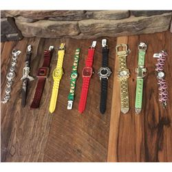 GROUP OF 10 NEW WATCHES-STRAP/BRACELET STYLES *need new watch batteries