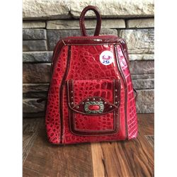"""LEATHER CROC LEATHER WESTERN BACKPACK/PURSE/Size: 10"""" W x 11"""" H x 4"""" Deep   Genuine leather with cro"""