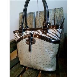"LEATHER OSTRICH HANDBAG/Size: 11"" x 11.5"" x 4.5""Style: Double handle handbag. Genuine leather. Mixtu"