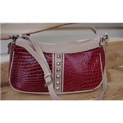 RED LEATHER CROC HANDBAG/quality leather croc handbag single adjustable shoulder strap has inside zi