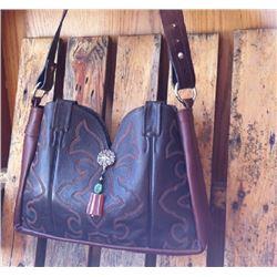 GENUINE LEATHER CUSTOM MADE COWBOY BOOT PURSE/Dark brown leather cowboy boot purse