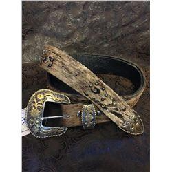 HAIR ON HIDE LEATHER BELT/Custom made hide belt/Swarovski Crystal/2 tone buckle/One of a kind