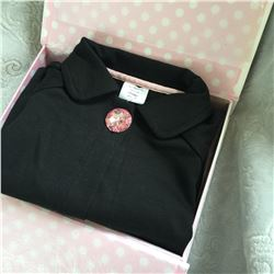 BLACK/3T/ GIRLS two piece set/Cardigan has a crystal button at top Matching leggings have a lace tri