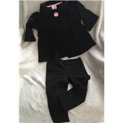 BLACK/SIZE 3T/GIRLS two piece set/Cardigan has a crystal button at top Matching leggings have a lace