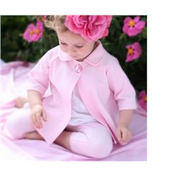 PINK/SIZE 3T/GIRLS two piece set/Cardigan has a crystal button at top Matching leggings have a lace