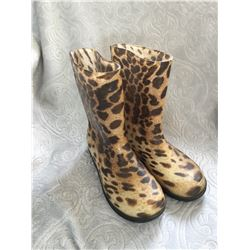 CHILDRENS LEOPARD PRINT RUBBER BOOT /EUR size29