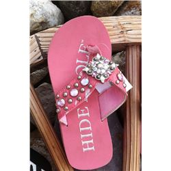 PINK HAIR ON HIDE BLING FLIP FLOPS /Pink brindle /diamond shaped silver concho on strap/SIZE SMALL M