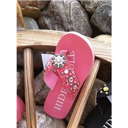 PINK HAIR ON HIDE FLIP FLOPS /Flip flops with a round silver concho on strap Pink brindle on strap/S