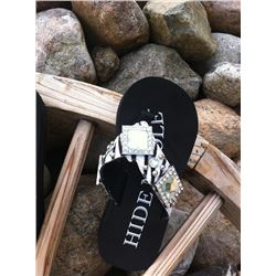 ZEBRA HAIR ON HIDE FLIP FLOPS/Zebra hide on strap/3 large square conchos /mall round stones and silv