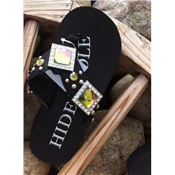 BLACK HAIR ON HIDE BLING FLIP FLOPS/Black Hide with square conchos/Has round stones and silver studs