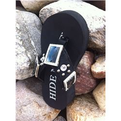 BLACK HAIR ON HIDE BLING FLIP FLOPS/Black Hide with smoke square conchos/Has round stones and silver