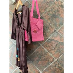 DARK BROWN RUFFLE DRESS/TURQUOISE  DESIGN ON BOTTOM/SIZELARGE/ PINK COWGIRL FINESSE TOTE BAG
