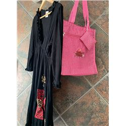 BLACK RUFFLE DRESS/RED CROSS LEOPARD   DESIGN ON BOTTOM/SIZE MEDIUM/ COWGIRL FINESSE FINESSE TOTE BA