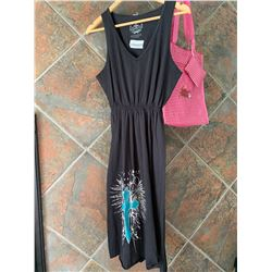 BLACK TANK TOP DRESS/TURQUOISE CROSS DESIGN ON BOTTOM/SIZE LARGE/ COWGIRL FINESSE FINESSE TOTE BAG