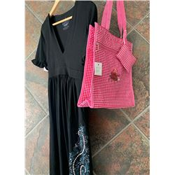 BLACK RUFFLE DRESS/TURQUOISE STUDDED  DESIGN ON BOTTOM/SIZE MEDIUM/ COWGIRL FINESSE FINESSE TOTE BAG