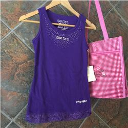 Girls purple tank top with crystals on top of front/Cowgirl Tuff Co. written on front/100% cotton/SI