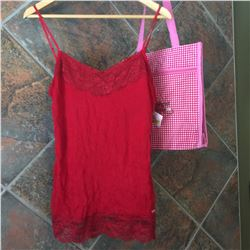 COWGIRL TUFF/Ladies red layering tank top/Red lace on top and bottom of tank/100% polyester/SIZE LAR