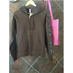 SIZE SMALL/Ladies zip up sweater/Crosses down the arms /80% cotton and 20% polyester/COWGIRL FINESSE