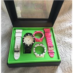 TRI COLOR /BBLACK,WHITE, PINK INTERCHANGEBLE  WATCH/BOXED SET