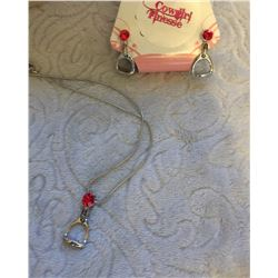 RED CRYSTAL ENGLISH STIRRUP NECKLACE AND EARRINGS/NICKEL FREE