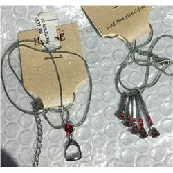 RED CRYSTAL ENGLISH STIRRUP  NECKLACE/ HORSHOE NAILS NECKLACE/ NICKEL FREE