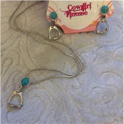 TURQUOISE STONE  ENGLISH STIRRUP NECKLACE AND EARRINGS/NICKEL FREE