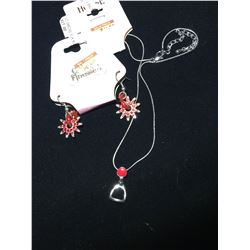 RED CRYSTAL  ENGLISH STIRRUP NECKLACE AND SPUR ROWEL EARRINGS/NICKEL FREE