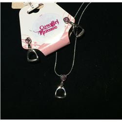 PINK CRYSTAL  ENGLISH STIRRUP NECKLACE AND EARRINGS/NICKEL FREE