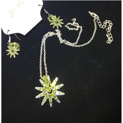 GREEN CRYSTAL  SPUR ROWELNECKLACE AND SPUR ROWEL EARRINGS/NICKEL FREE****NECKLACE NEEDS FIXING!!!