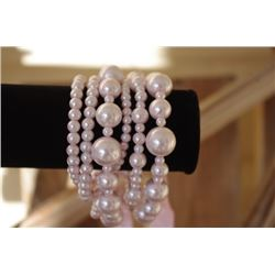 Multi layer BRACELET/Wear as a set or individually/Different size PINK pearl layers