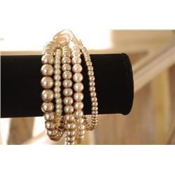 Multi layer BRACELET/Wear as a set or individually/Different size BEIGE pearl layers