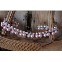 """PINK AND WHITE PEARL AND CLEAR AND PINK SWARVARSKI CRYSTALS """"SISSY & ME"""" BRAND  NECKLACE"""