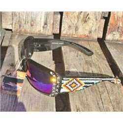 Black Montana West sunglasses with multi colored and turquoise beading accent on arm and clear bling