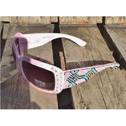 Pink Montana West sunglasses with pink and turquoise beading accent on arm and clear bling accent on